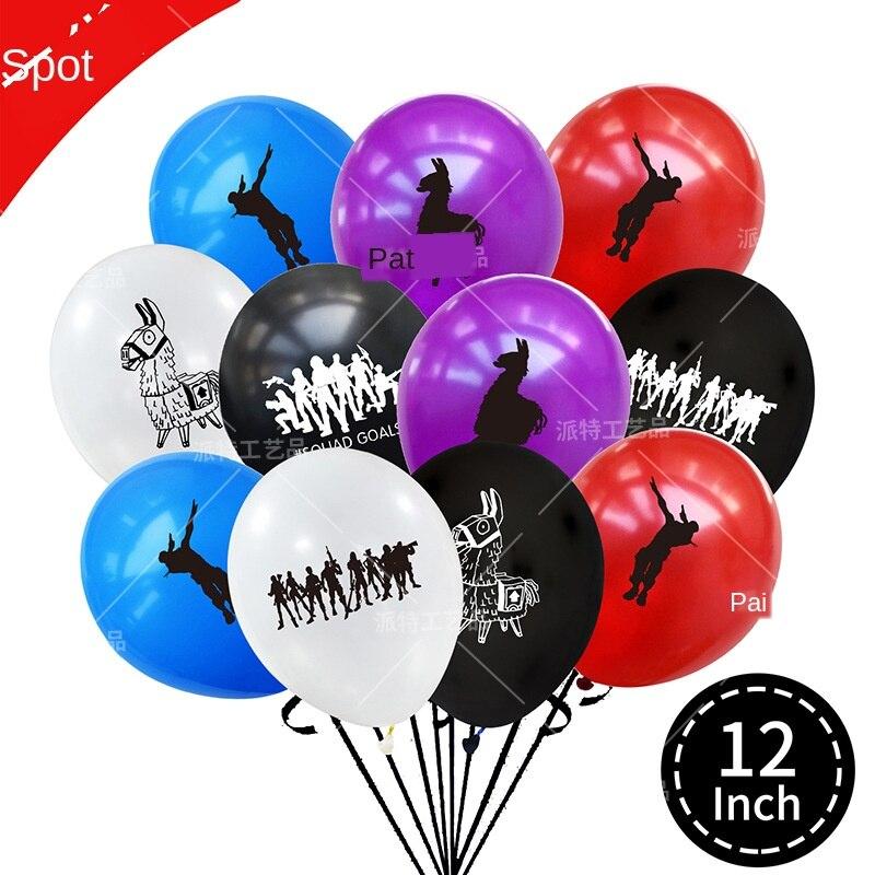 Juego de fiesta inflable chico cumpleaños globo Fortnite fortaleza noche niño fiesta globo decoración chico s juguetes de globos de aire