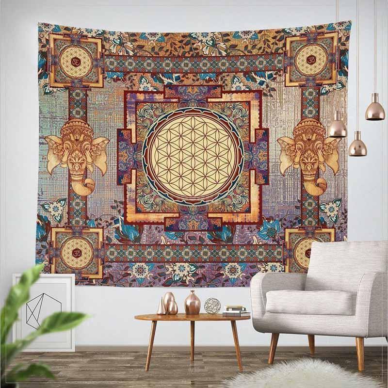 Tapiz clásico de Mandala de elefante para colgar en la pared Bohemia, con flores, tapiz decorativo para el hogar, colcha, funda de sofá