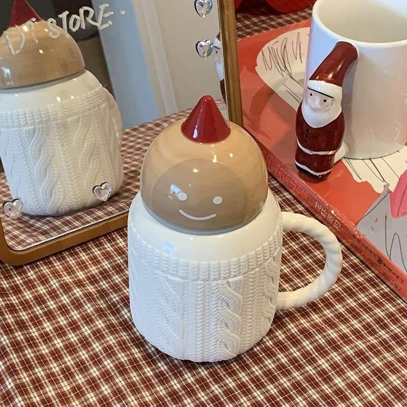 شخصية جميلة موضوع الغابات لطيف الزنجبيل رجل الصوف نمط السيراميك أكواب القهوة أكواب مع غطاء لهدايا عيد الميلاد