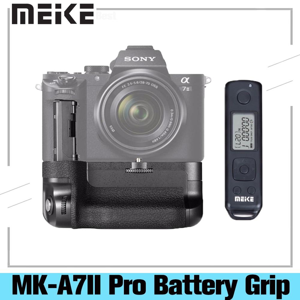 Meike MK-A7II برو المدمج في قبضة بطارية التحكم اللاسلكية لسوني A7 II A7R II A7S II كما لسوني VG-C2EM