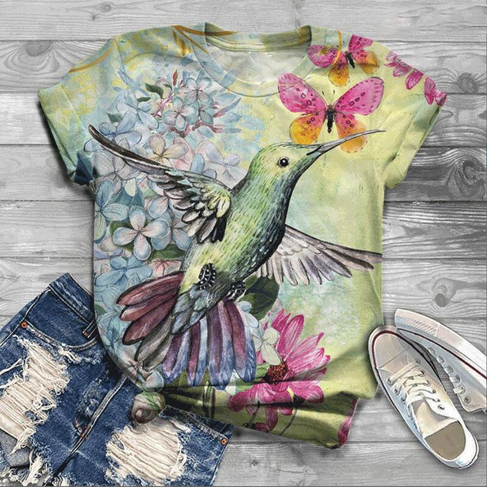 Summer Women Blouse Short Sleeve Hummingbird Floral Print Cotton Blend O Neck T-shirt Short Sleeve T