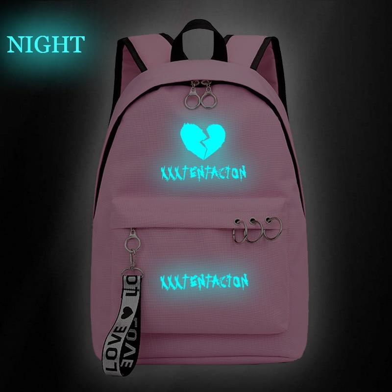 Mochila escolar luminosa Xxxtentacion, Popular, para rapero, mochila de uso diario, Hip Hop, para mujer, hombre, bolsas de viaje para adolescentes, mochila para ordenador portátil