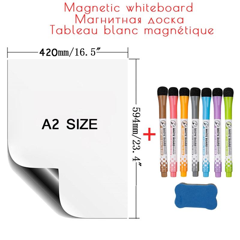 Магнитная доска A2 размера для холодильника, наклейки, большая белая доска для письма и сообщений, рисования, офисные магниты для холодильни...