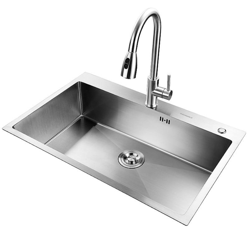 sink or swim pубашка Handmade Brushed Kitchen Sink Single Sink Above Counter or Udermount Vegetable Washing Basin Stainless Steel Kitchen Sinks