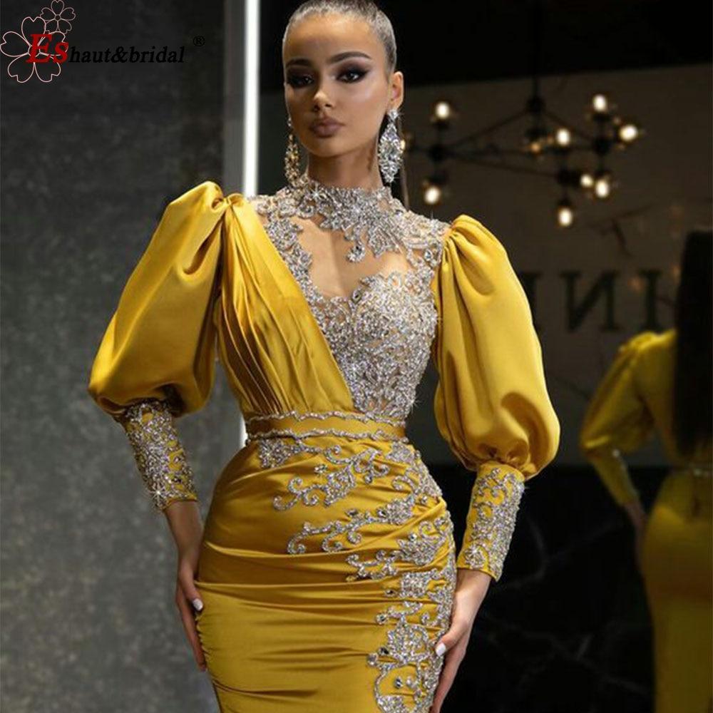 فستان سهرة عربي فاخر برقبة عالية للنساء 2021 حورية البحر ذو أكمام طويلة بشق جانبي كريستالي فستان رسمي للحفلات