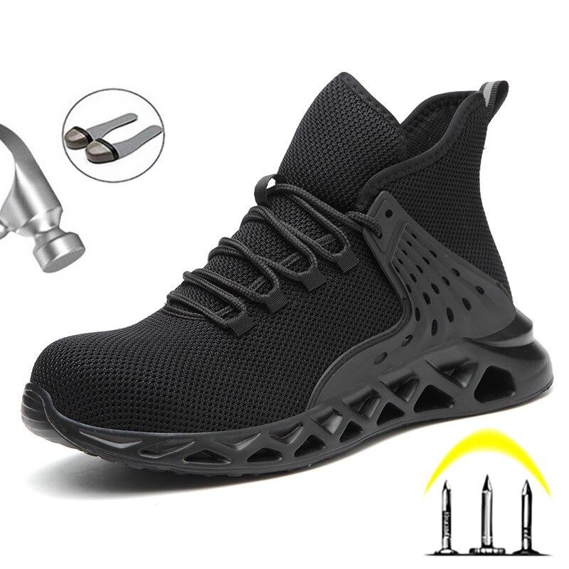 2021 تنفس الرجال أحذية السلامة الصلب اصبع القدم أحذية السلامة الذكور العمل ثقب واقية العمل أحذية الرجال أحذية الشحن مجانا
