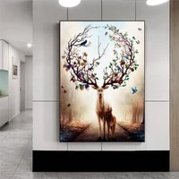 nordic elk deer canvas paintings modern decorative pictures prints and posters parent child deer paintings for living room decor