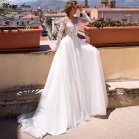 magic awn elegant wedding dresses boho long sleeves lace appliques illusion princess country a line mariage gowns vestidos novia