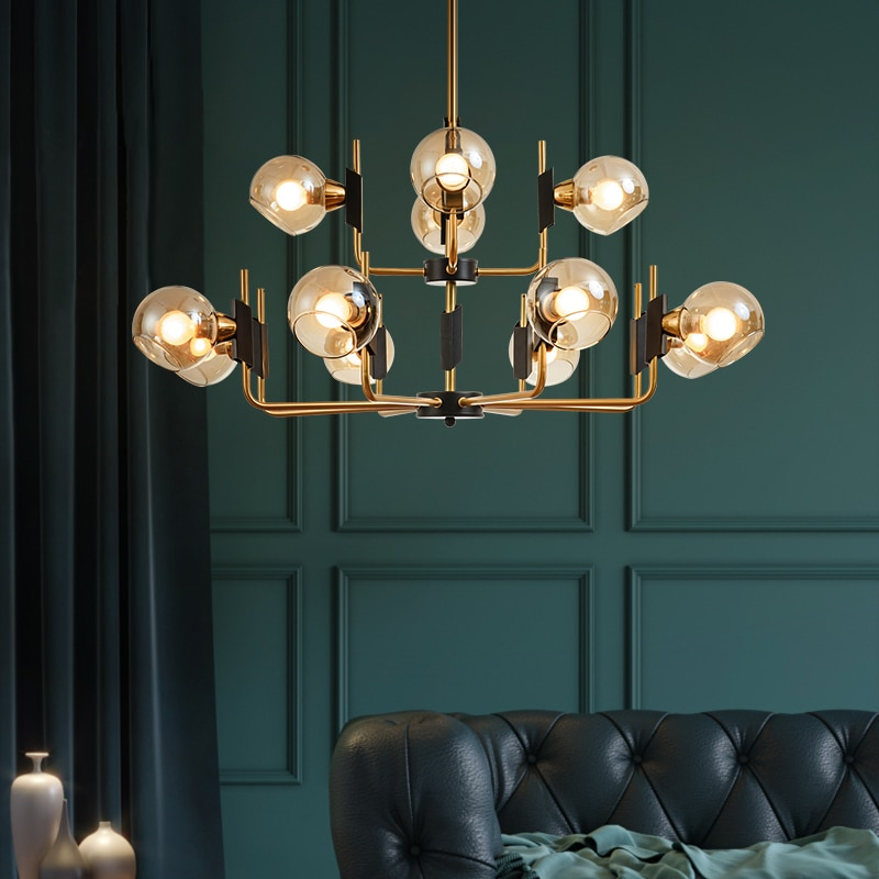 Candelabro moderno de sala de estar, iluminación Vintage, bola de cristal LED, luces colgantes, accesorio Retro de cocina, lustre suspendido para el hogar