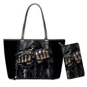 Retro Skull Head 3D Print Black Handbags Set Luxury Zipper Women Travel Shoulder Bags Female Totes Top-handle Bags