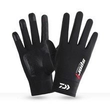 Mens Ice Silk Fishing Gloves Full Finger Anti-Slip Outdoor Sports Breathable Quick-Dry Cycling Touch