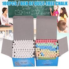 100pcs Mixed Colour White Chalk Sticks Pack Kids Playground School Art Learning KQS8