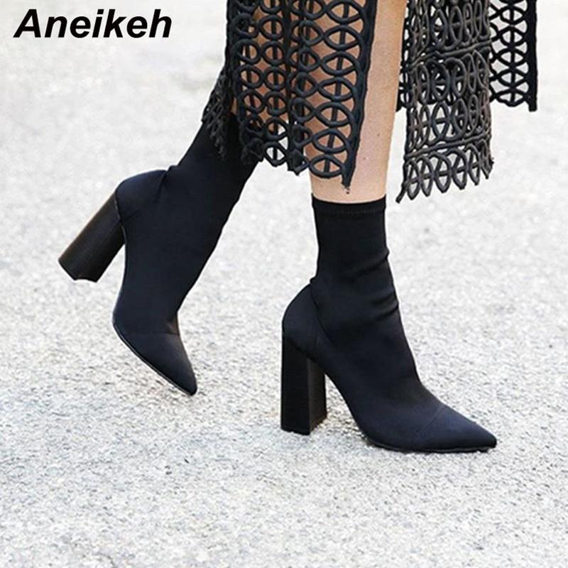 Aneikeh Slim botines de mujer punta cuadrada botas de tacón alto zapatos de mujer zapatos de moda Bota femenina 35-41