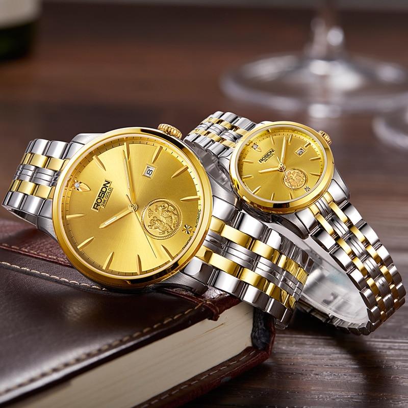 ROSDN-ساعة يد ميكانيكية أوتوماتيكية للنساء ، إصدار محدود من الساعات اليابانية الفاخرة ، تصميم 24K ذهبي ، 50 متر ، مقاومة للماء ، للأزواج ، R2163W