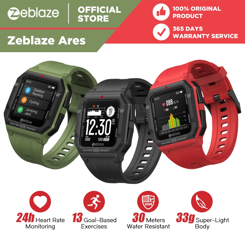 NEW 2021 Zeblaze Ares Smart Watch Bluetooth Smartwatch 3 ATM Heart Rate Tracking 15Days Battery Life