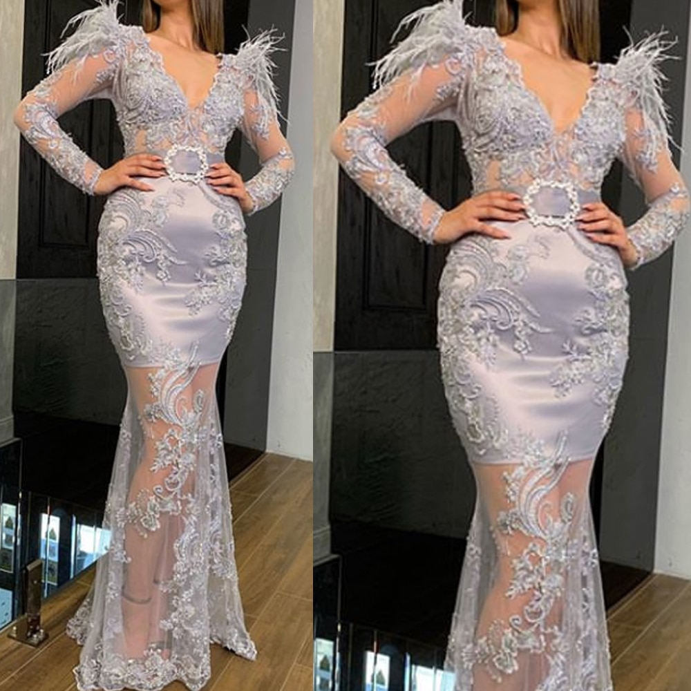 lace prom dresses 2020 sequins sparkly mermaid evening dresses lace feather formal evening gowns rob