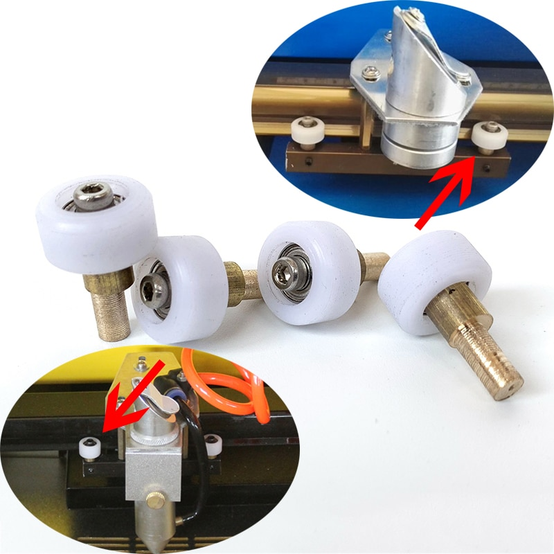 8 pçs diy 40 w 50 60 co2 laser de borracha de náilon selo gravura máquina de corte selo gravador k40 parte cabeça transporte roda rolos