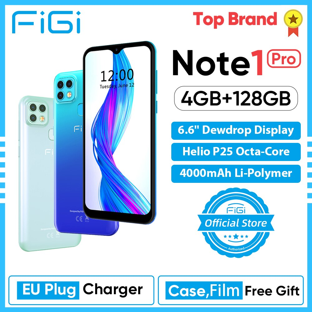 Cellphone FIGI Note 1 pro Smartphone 6.6'' Display Helio P25 Octa Core 4GB 128GB 4000mAh Battery Android Mobile phone 16MP Cam