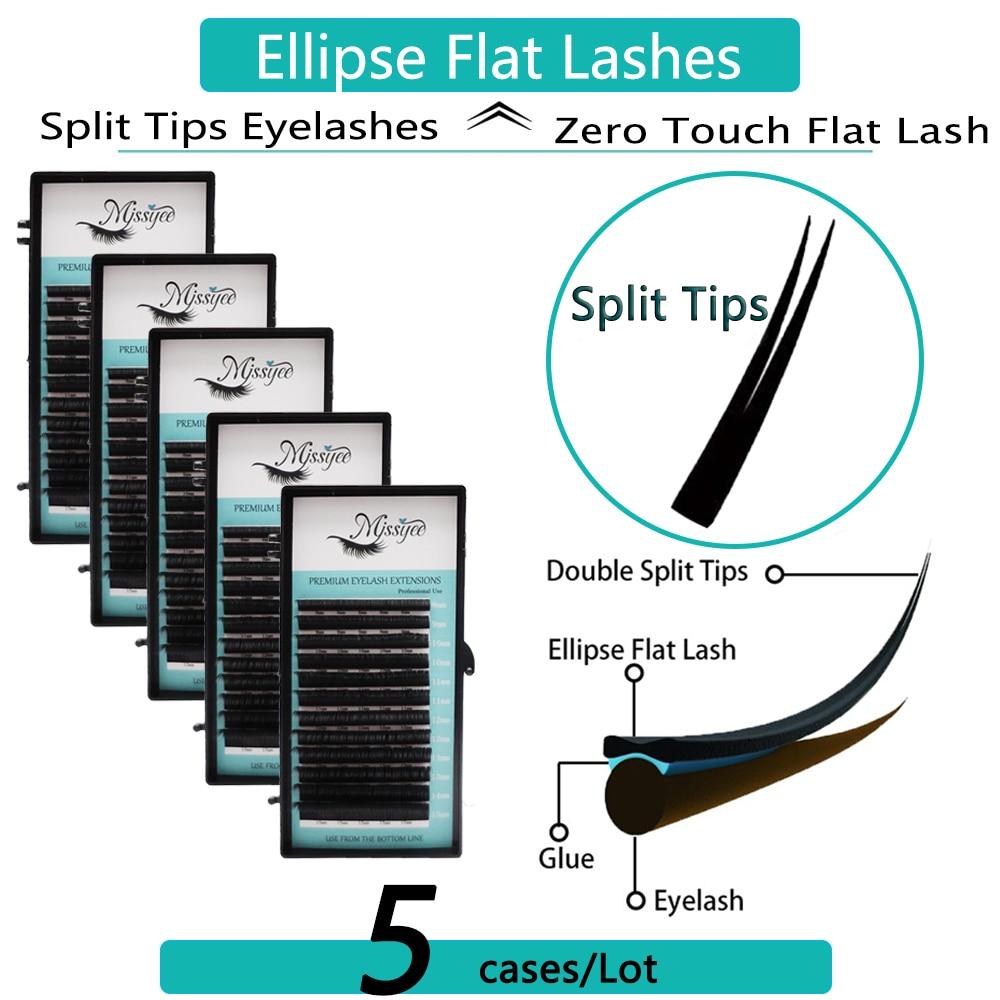 5 bandejas/lote extensión de pestañas planas para profesionales pestañas planas elipse punta dividida profesional suave pestaña plana C/CC/D rizo