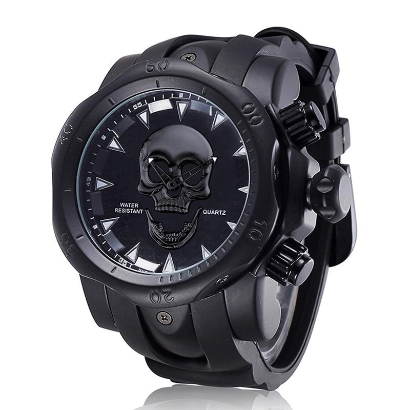 Новые Индивидуальные водонепроницаемые мужские часы Призрак Череп Ши Ин спортивные часы силиконовые с большими часами