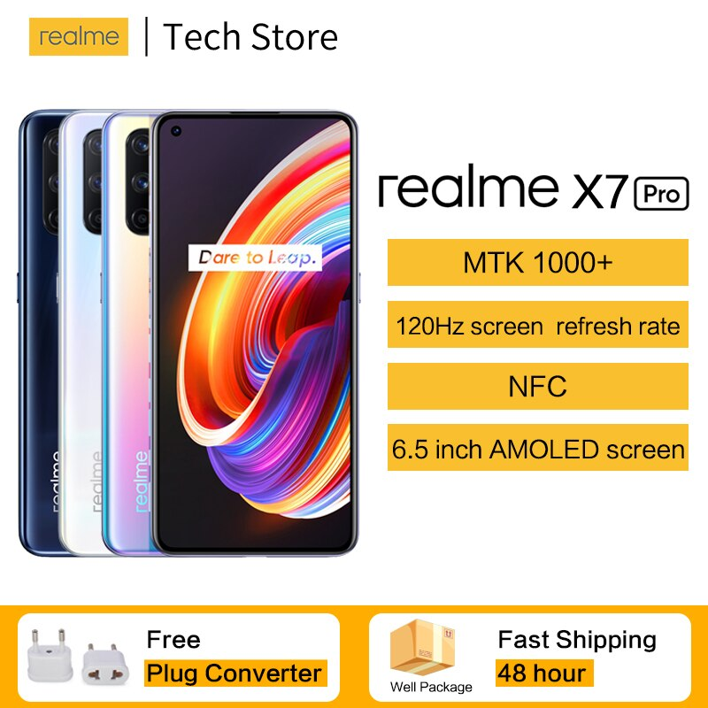Original Dual 5G NFC realme x7 Pro Smartphone 6.55''120Hz Screen Refresh Rate 65W Smart VOOC MTK1000+ 64MP Quad Camera Cellphone