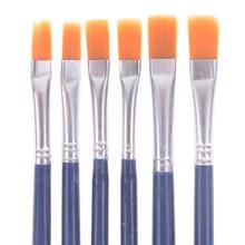 Hot sale 6Pcs/Set Watercolor Gouache Paint Brushes Different Shape Round Pointed Tip Nylon Hair Painting Brush Set Art Supplies
