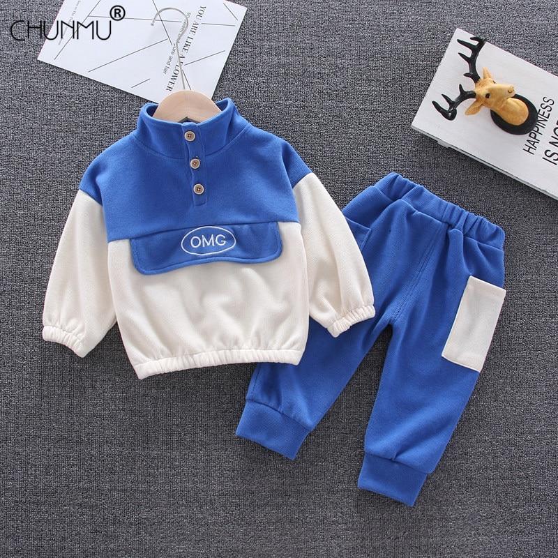 Traje infantil otoño Bebé Ropa informal para niños manga larga niños cuello alto manga larga sudadera Pantalones Bebé niños ropa conjunto
