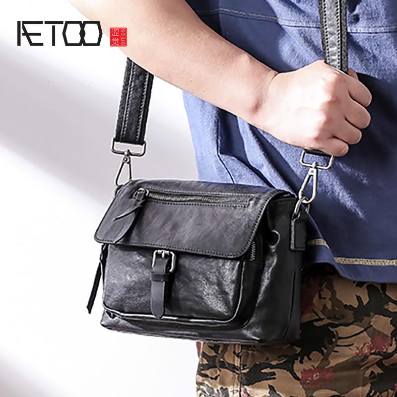 AETOO الرجال الجلود الاتجاه واحد الكتف حقيبة ، الأزياء عارضة منحرف عبر حقيبة ، رئيس جلد الرجال حقيبة