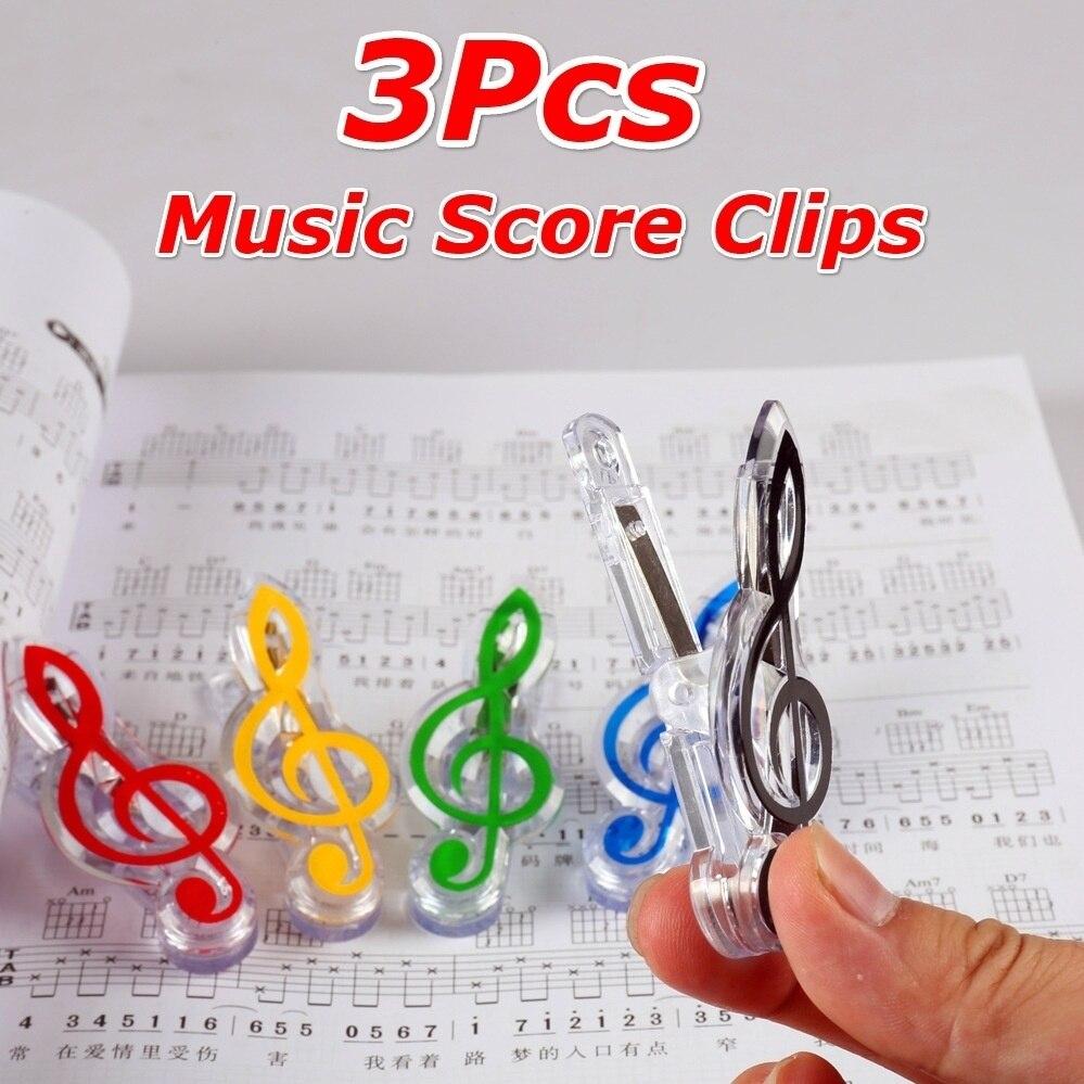 3 unids/set pinzas para hojas de papel de libro de acero primavera puntuación divertida Mini carpeta de música Clips de papel decorativo pinzas de notas musicales