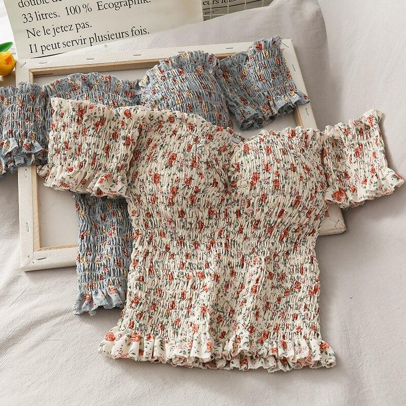 2020 女性甘い花柄オフショルダーカジュアルショートブラウスシャツ女性のレトロなフリル弾性シックなシュミーズ blusas トップス