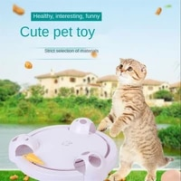 new electric cat turntable toy puzzle interactive props crazy play plate simulation mouse toy dougez gog cat toys pet supplies