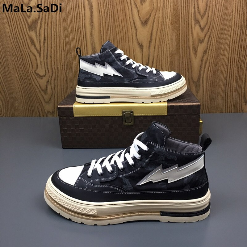 2019 New Autumn High-top Belt Casual Leather Camouflage Shoes Casual Shoes Korean Version Of The Wild Sports