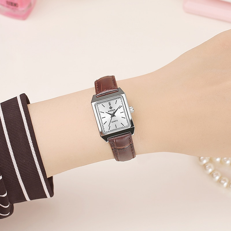 WWOOR 2020 Top Brand Luxury Women Square Watches Brown Leather Quartz Small Dial Ladies Wrist Watch Gift For Women Montre Femme enlarge