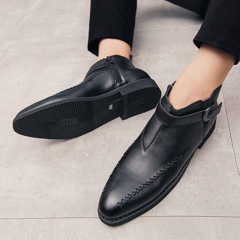 2021 جديد الخريف الرجال أحذية بو الكورية موضة الأسود الجانب سستة قصيرة أنبوب البريطانية وأشار الأعمال أحذية رجالي غير رسمية ZZ320