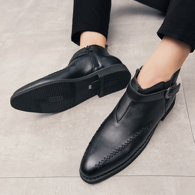 2021 New Autumn Men's Pu Boots Korean Fashion Black Side Zipper Short Tube British Pointed Business