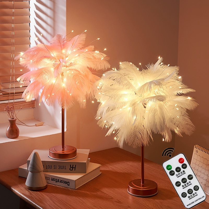 LED ريشة ضوء الليل عن بعد الجنية أضواء ديكور المنزل ليلة مصباح USB بطارية تعمل لغرفة النوم السرير الجدول مصباح الطرف