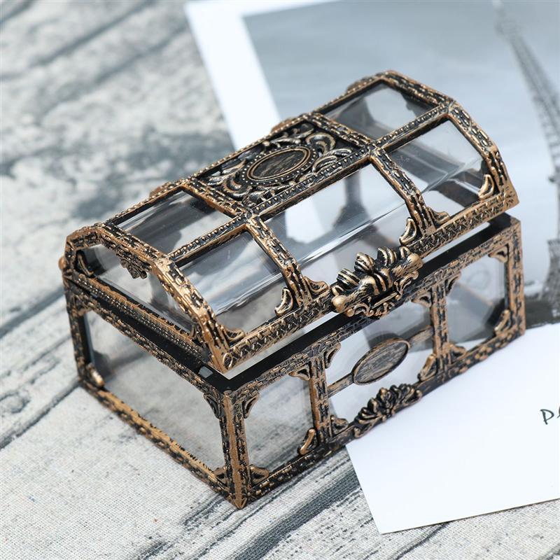 Caja de almacenamiento de joyas transparente con textura de dibujo, caja del tesoro pirata, organizador de gemas de cristal, caja del Tesoro de recuerdo