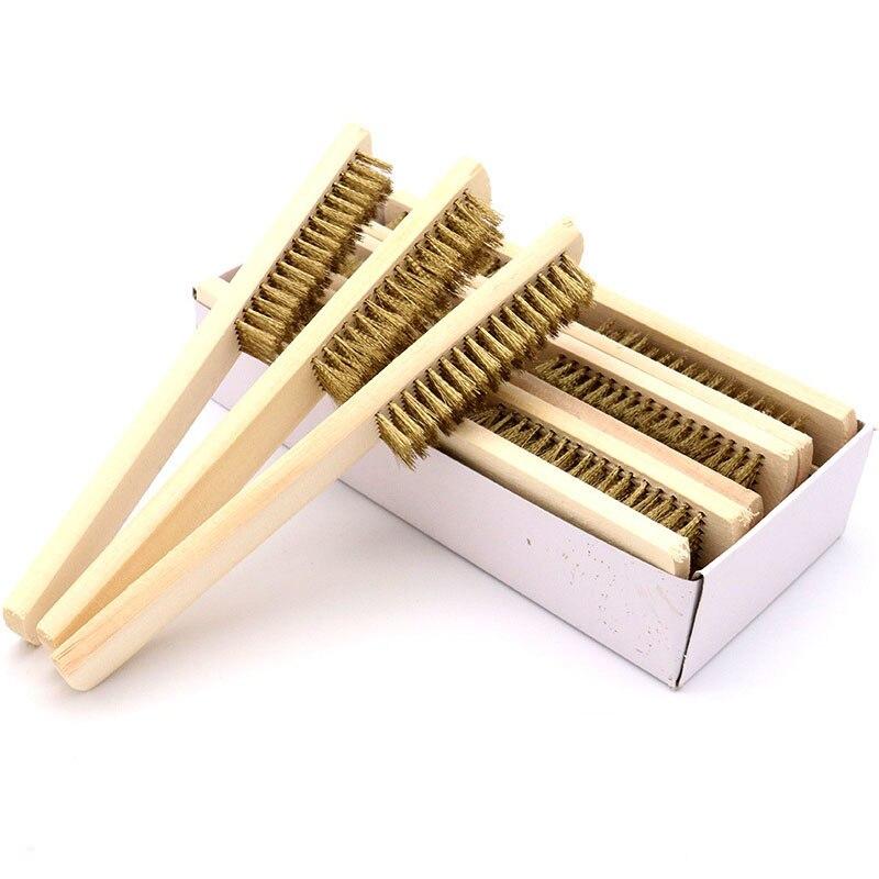 1 шт деревянной ручкой латунный провод Медь щетка для промышленных устройств поверхности/Внутренняя Полировочная шлифовальная очистки 6x16 ряд ручных инструментов