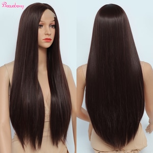 Beauebony Red Wig Lace Wig Synthetic Straight Part Lace Natural Wig Natural Hair Long Hair Cheap Hair For Women Synthetic Lace