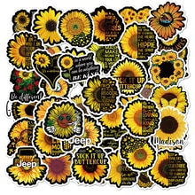 50PCS You Are My Sunshine Sun Flower Stickers Plant For Laptop Skateboard PVC Backpack Bicycle Car Decals Graffiti Sticker F4