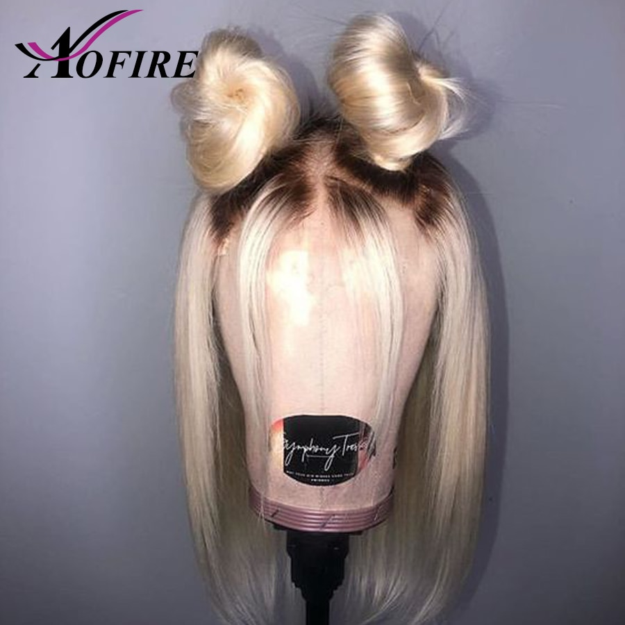 Ombre 1B 613 peluca rubia con malla frontal prearrancada con pelo de bebé, pelucas de cabello humano brasileño Remy, pelucas de Bob corto para mujeres en blanco