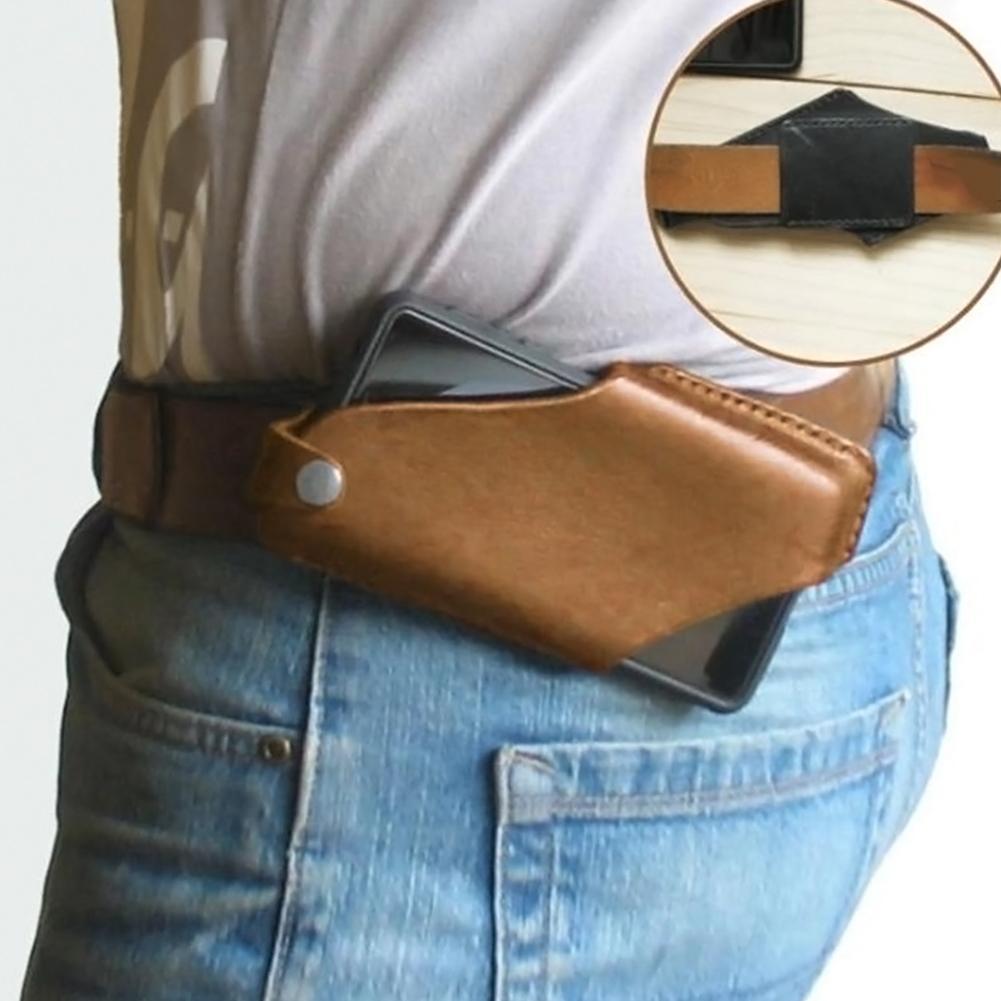 Мужская портативная поясная сумка кожаный чехол для мобильного телефона, чехол для телефона с зажимом для ремня, уличный дорожный походный ...
