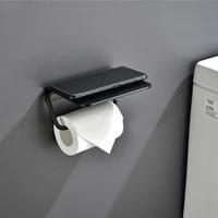 aluminum toilet paper holders tissue rack wall mounted bathroom kitchen roll holders accessories hooks modern black hanger