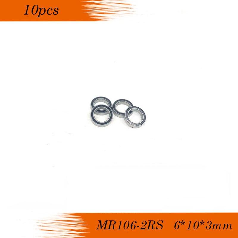 10 Uds MR106-2RS 6*6*10*3mm ABEC-5 rodamientos de bolas en miniatura MR106RS L1060
