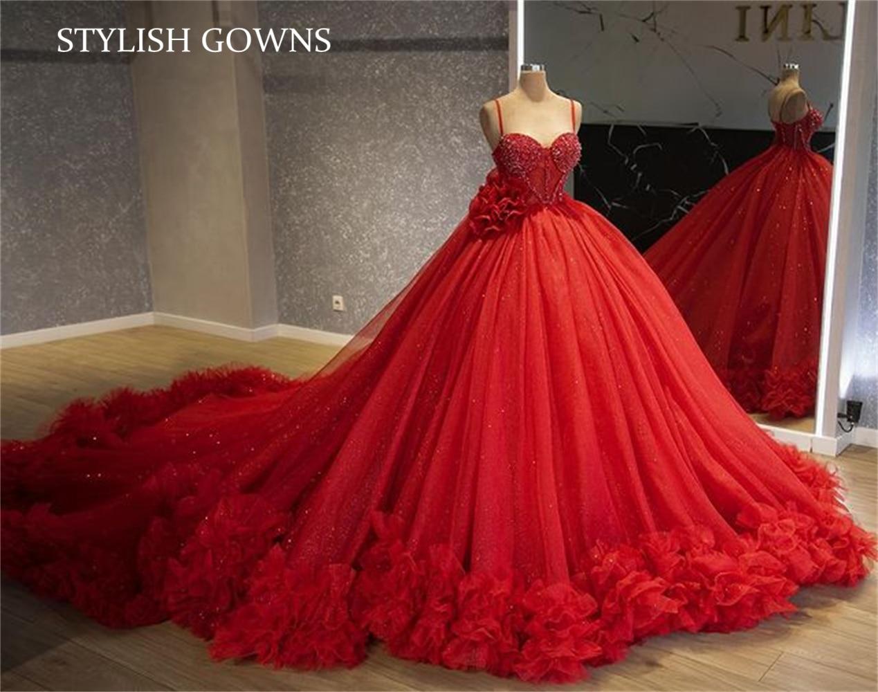 فستان نسائي أحمر بحزام السباغيتي فستان Quinceanera ثنيات حلوة 16 فستان رداء حفلات التخرج