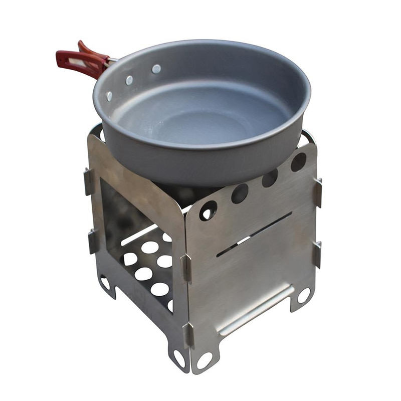 Pequeña estufa de leña plegable para acampar al aire libre, equipo de quemadores para barbacoa, estufa de madera, estufa de carbón eléctrico