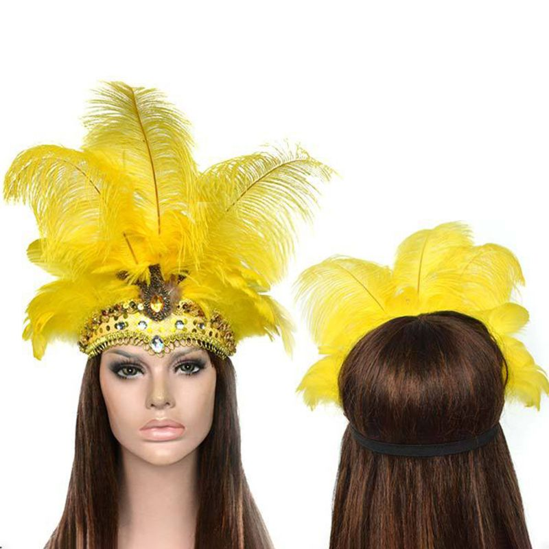 Diadema de plumas de Halloween para mujer, lentejuelas brillantes, diamantes de imitación, fascinación india, tocado de carnaval, fiesta de actuación de baile