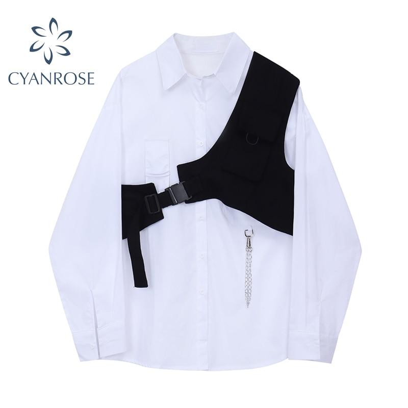 بلوزة بيضاء فضفاضة من قطعتين ، مجموعة ربيع خريف 2020 ، قميص علوي ، سترة سوداء ، موضة ، كاجوال