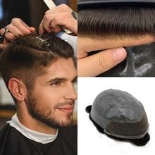 Toupet Swiss Lace Front Wig pour hommes   Toupet Lace Front Wig, système de remplacement, cheveux humains durables, nœuds décolorés