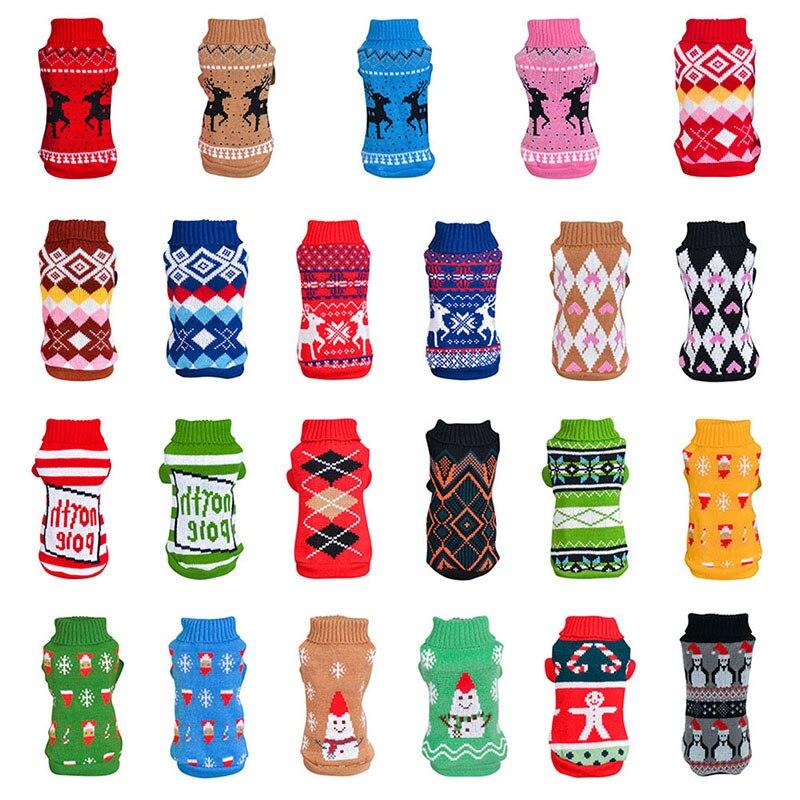 Camisola do cão de estimação inverno roupas do cão natal boneco de neve elks suéteres para cães pequenos filhote de cachorro gato pulôver malha jumper dropship